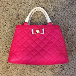 Betsey Johnson hot pink crossbody quilted satchel